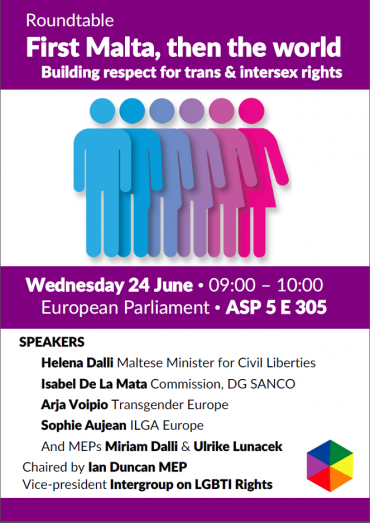 Upcoming event: First Malta, then the world – building respect for trans and intersex rights