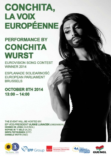 Upcoming event: Eurovision contest winner Conchita Wurst performs at the European Parliament