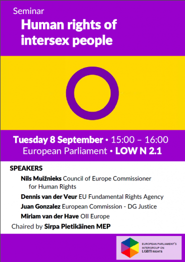 Upcoming event: Human rights of intersex people