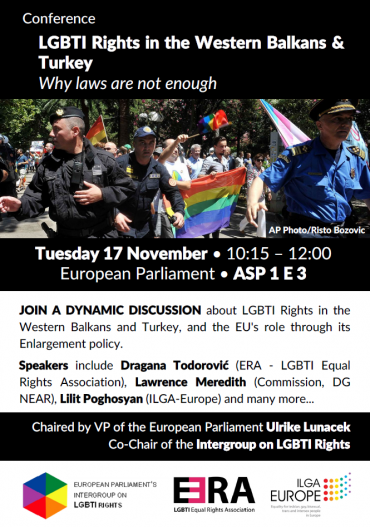 Upcoming event: LGBTI Rights in the Western Balkans & Turkey – Why laws are not enough