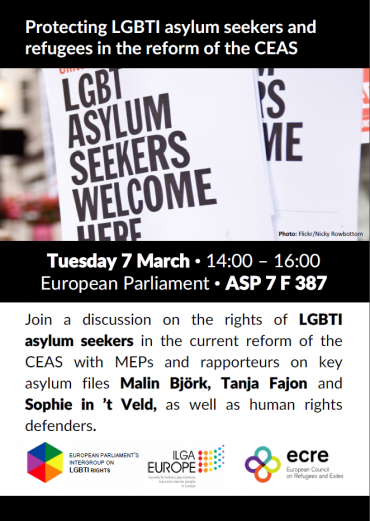 Upcoming roundtable: Protection LGBTI asylum seekers and refugees in the reform of the CEAS