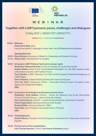 [Portuguese Council Presidency event] Together with LGBTI persons: paces, challenges and dialogues